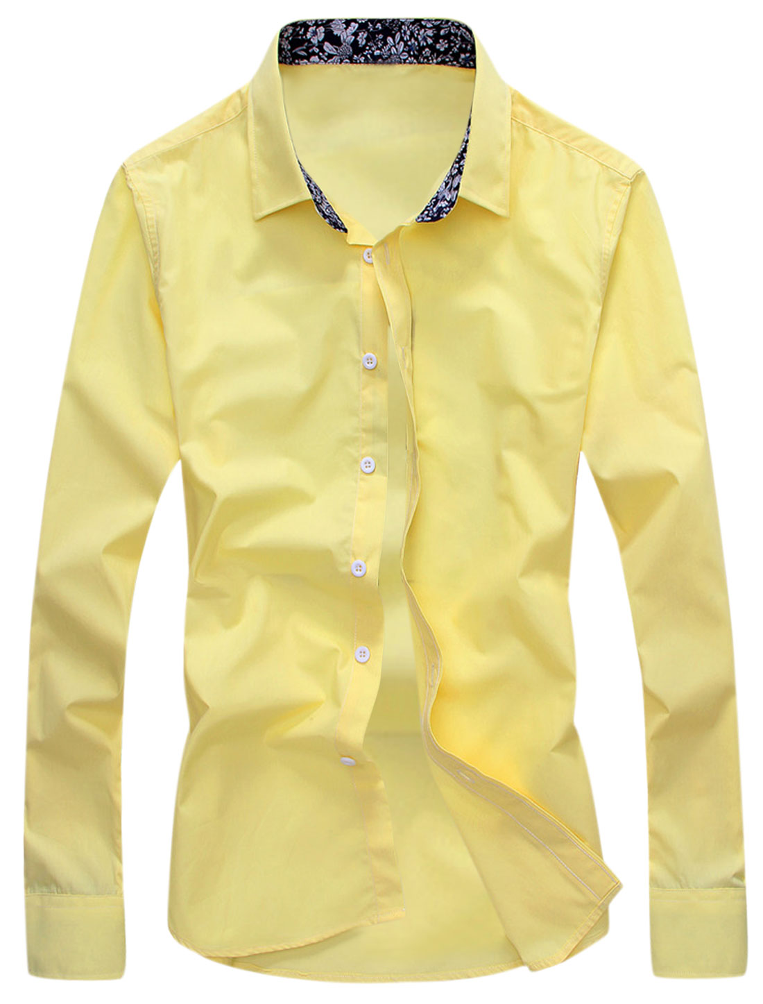 Men Long Sleeves Button Closed Casual Shirts Yellow M