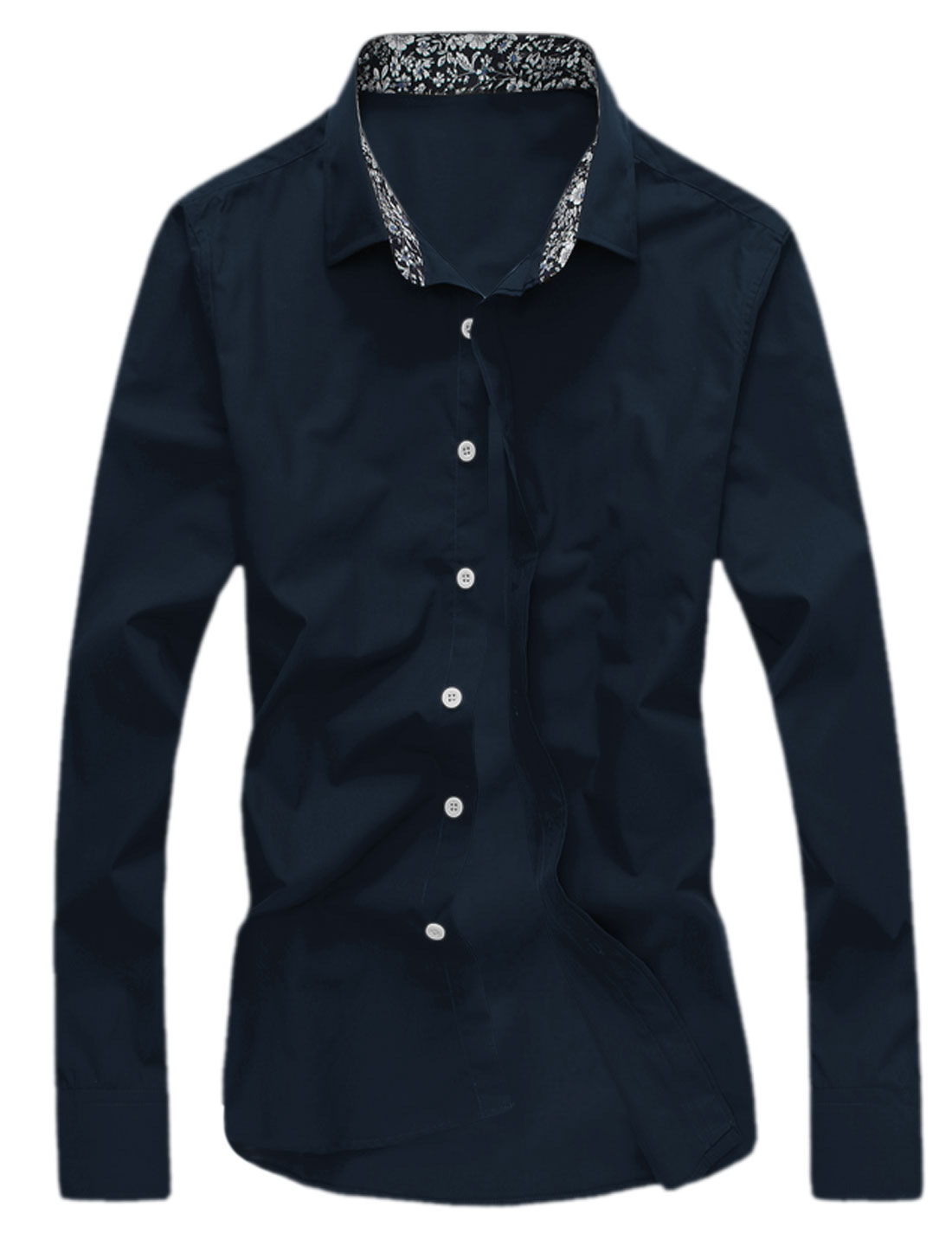 Man Point Collar Round Hem Button Down Shirts Navy Blue M