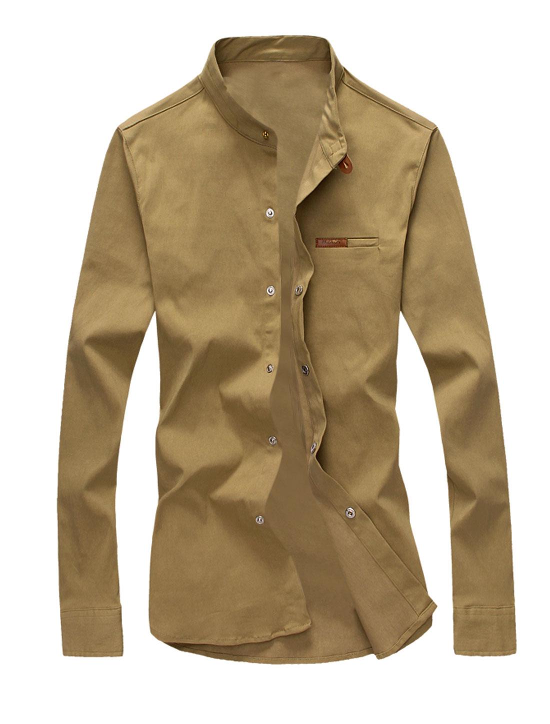 Man Snap Fastener Up Long Sleeves Casual Shirt Khaki M