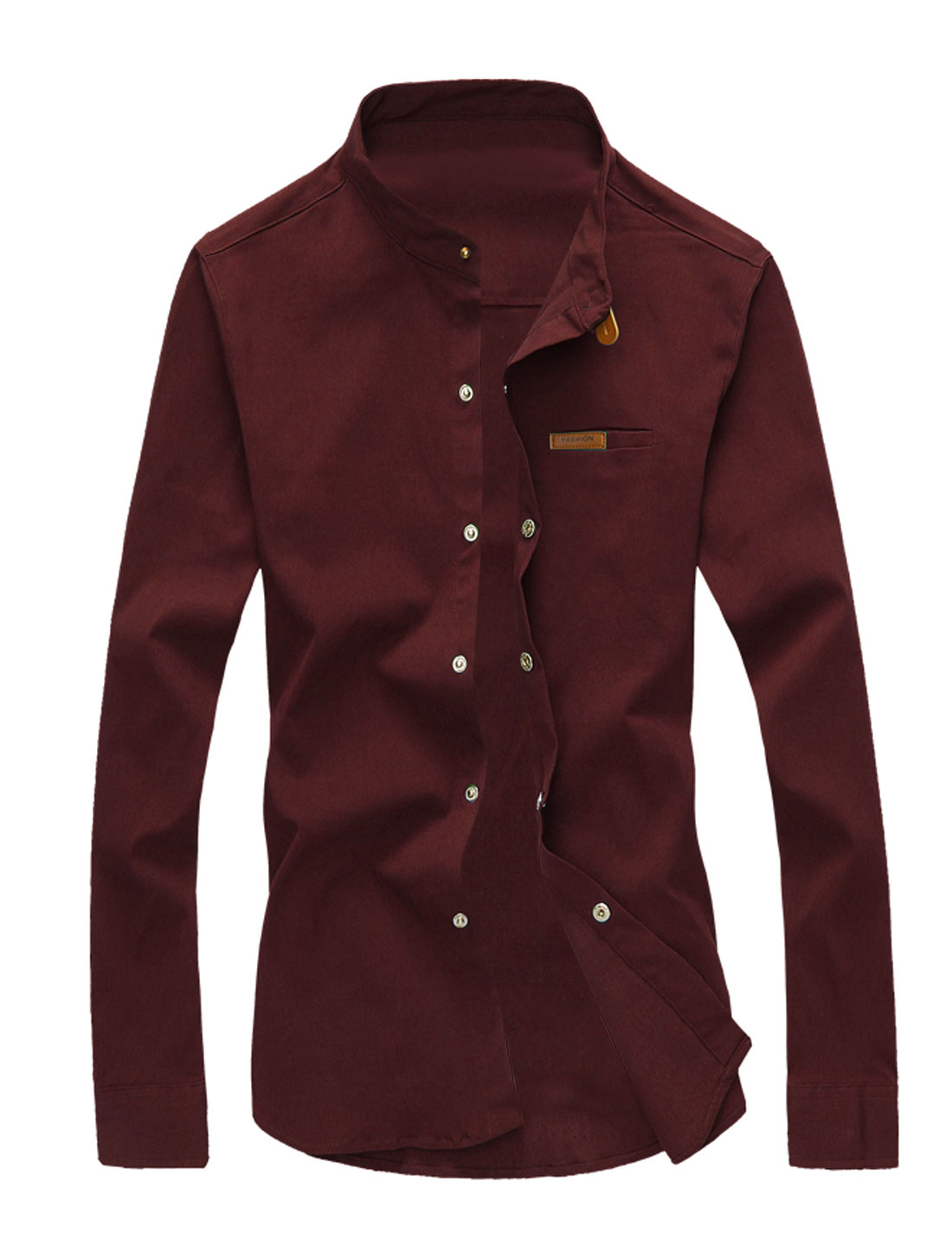 Man Long Sleeves Stand Collar Button Down Shirts Burgundy M