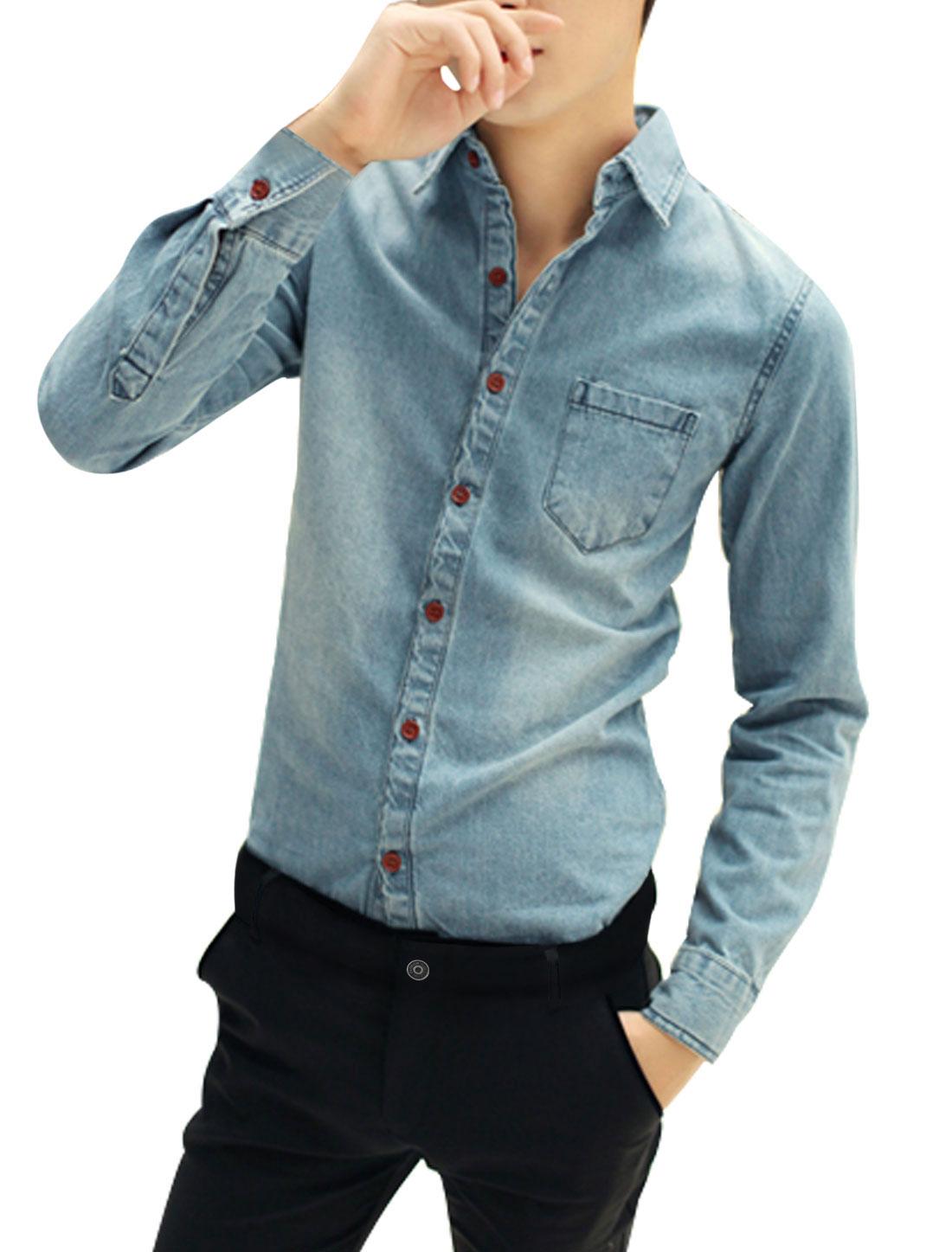 Men Long Sleeve Point Collar Button Down Pocket Casual Denim Shirt Blue M