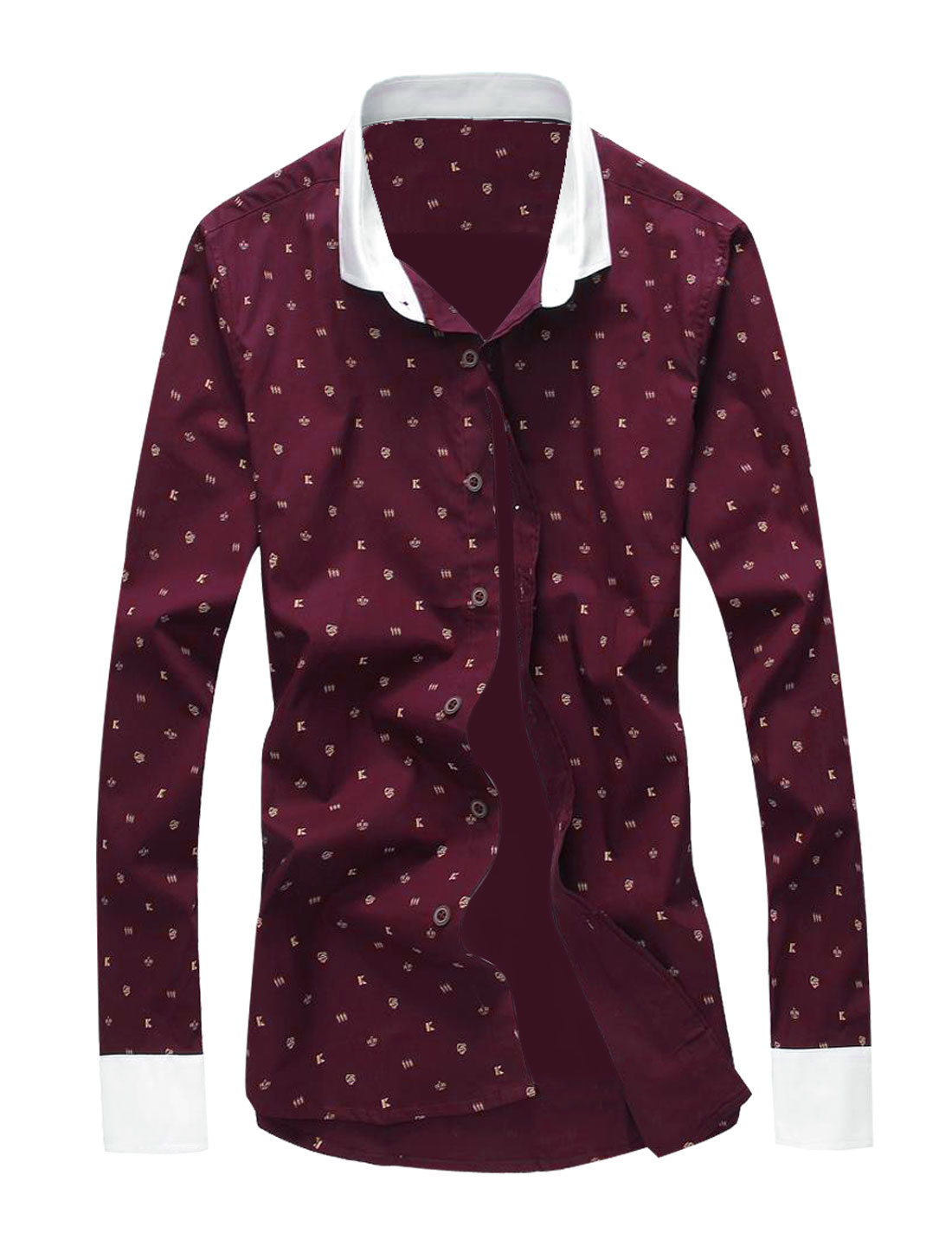 Men Long Sleeve Button Down Crown Pattern Slim Fit Shirt Burgundy M