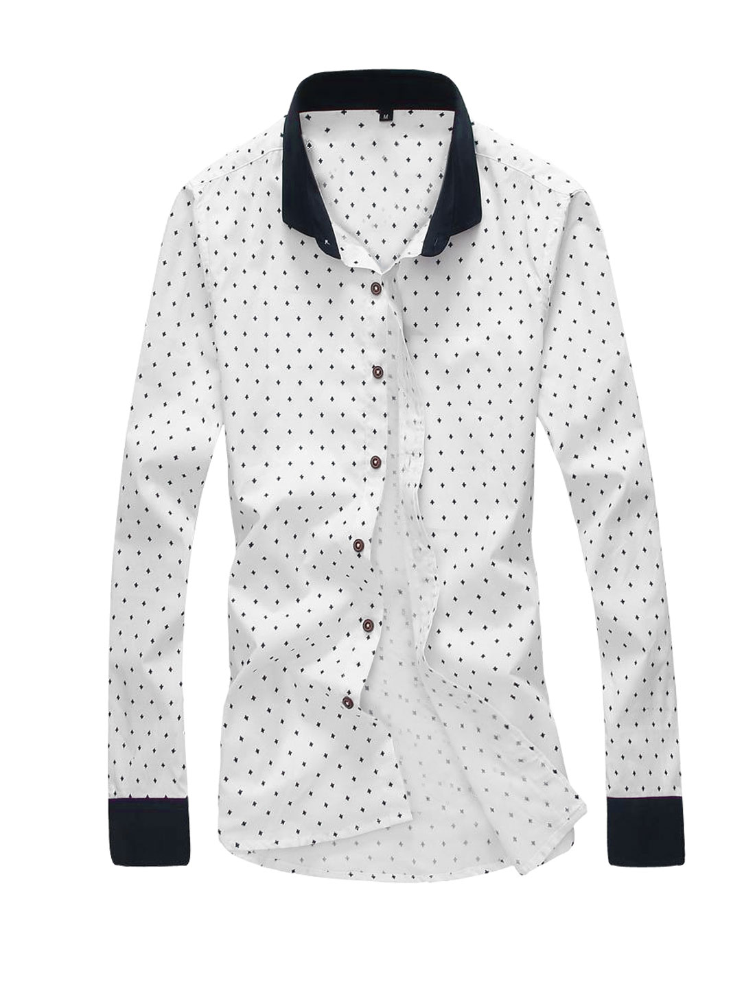 Men Long Sleeve Novelty Print Button Down Casual Slim Fit Shirt White M