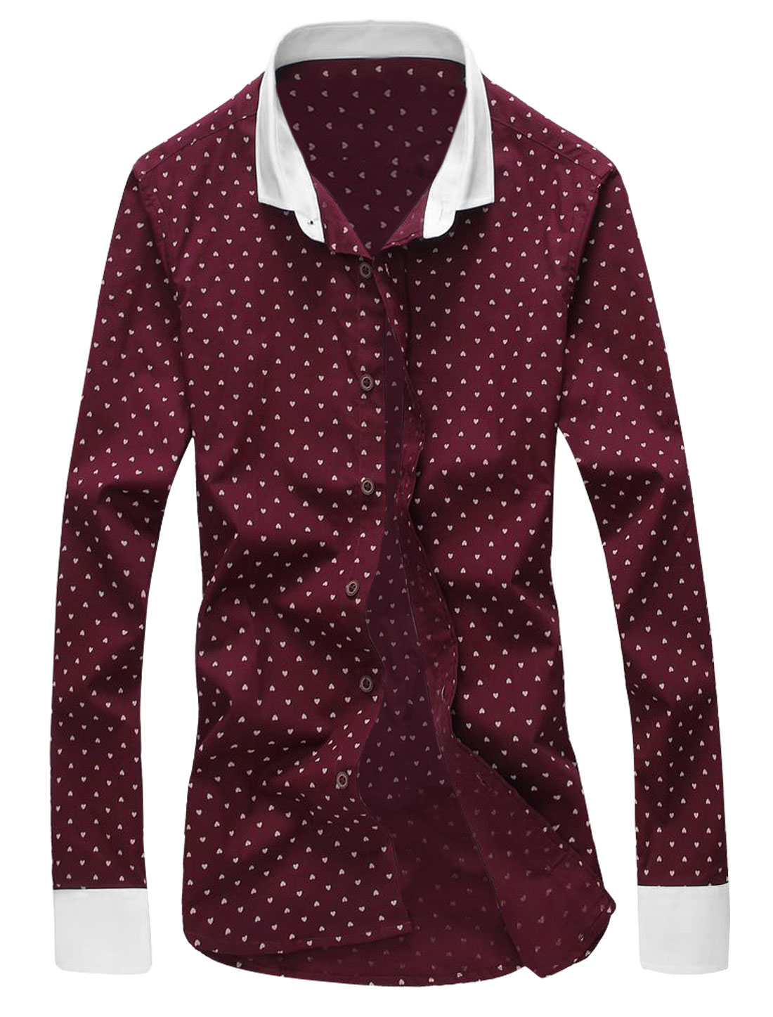 Men Long Sleeve Point Collar Hearts Print Casual Slim Fit Shirts Burgundy M