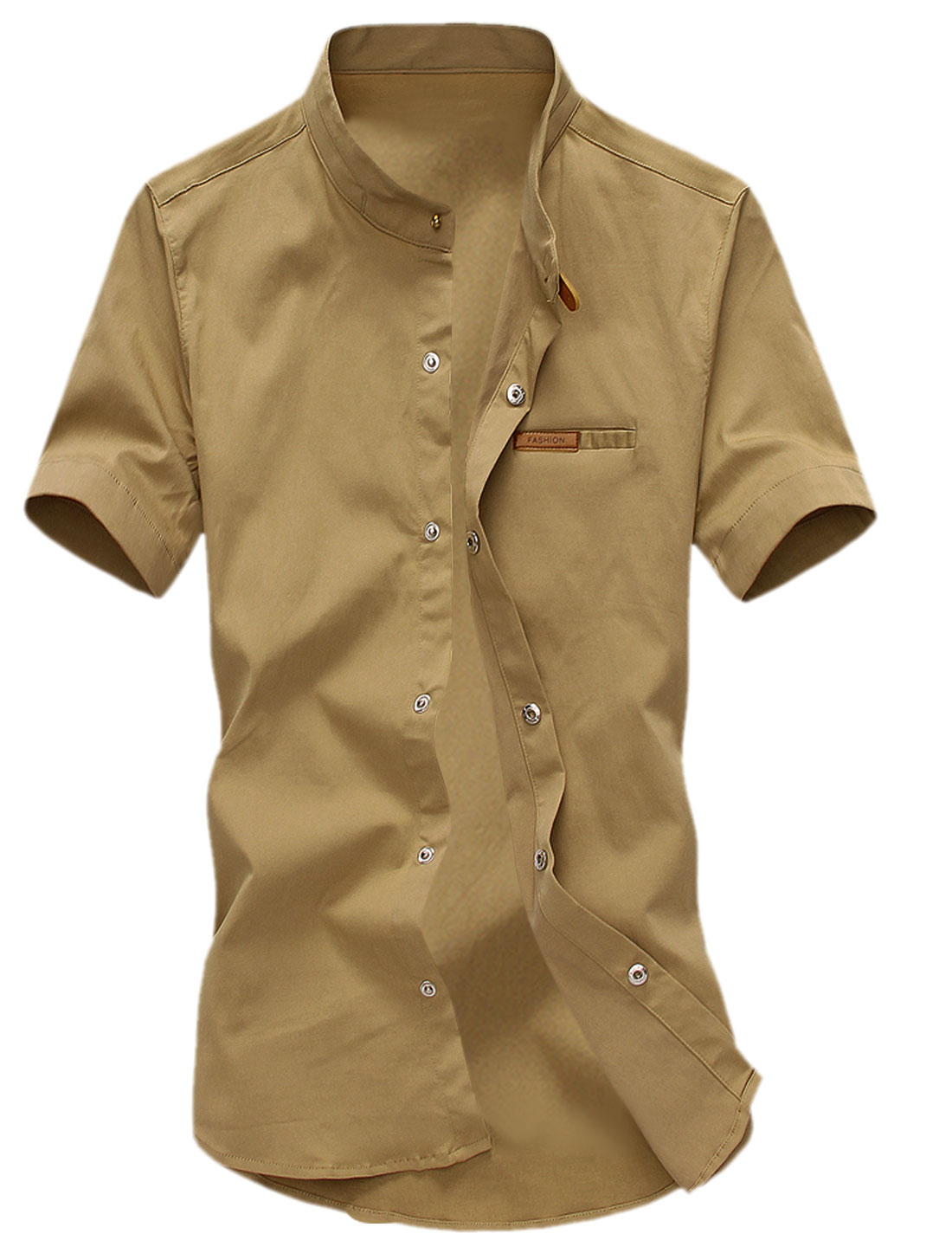 Men Stand Collar Snap Fastener Up Short Sleeves Casual Shirts Khaki M