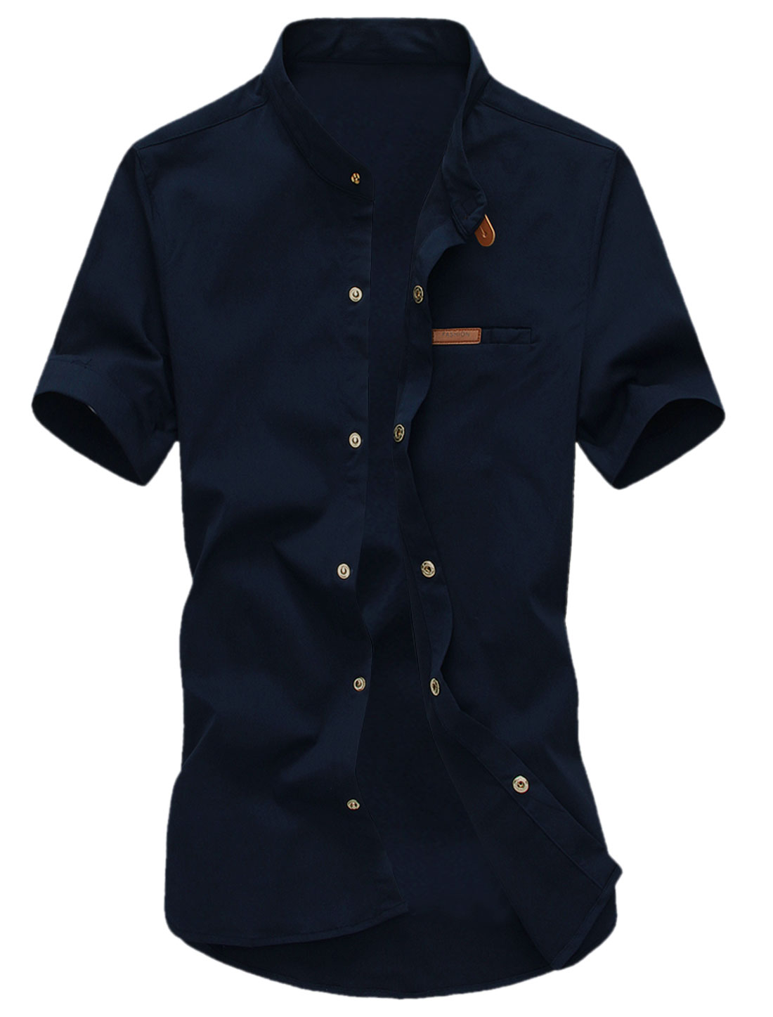 Men Short Sleeves Snap Fastener Up Leisure Shirts Navy Blue M