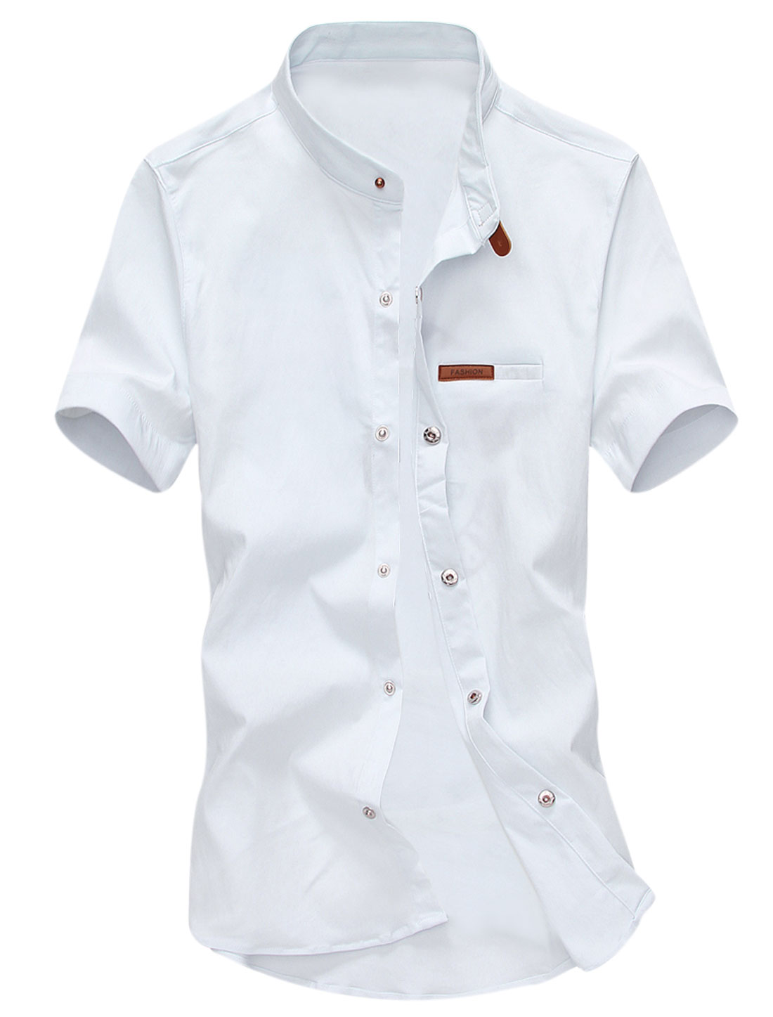 Man Short Sleeves Stand Collar Button Down Shirts White M
