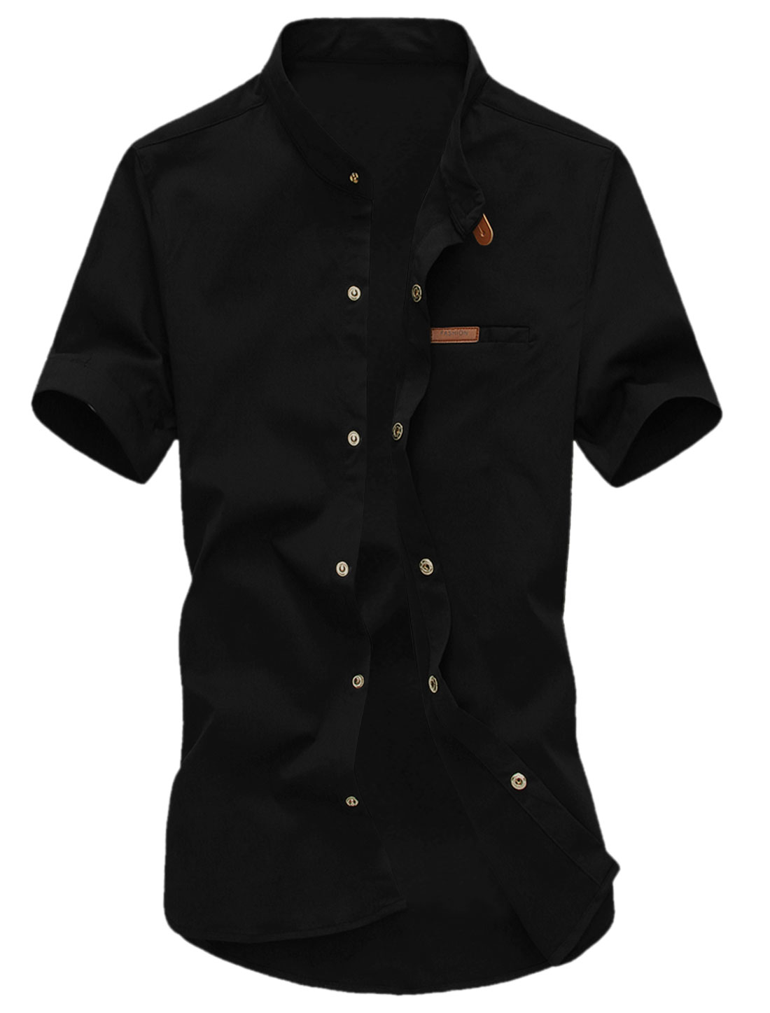Man Short Sleeves Stand Collar Round Hem Shirts Black M