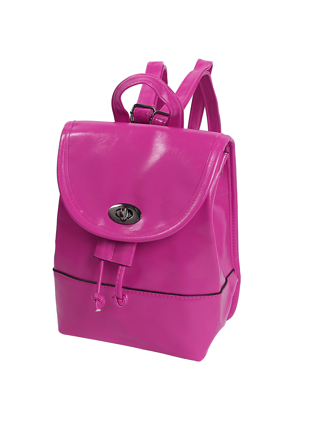 2015 New Pure Candy Color Cute PU Leather Turn-lock Clasp Backpack Satchel Fuchsia