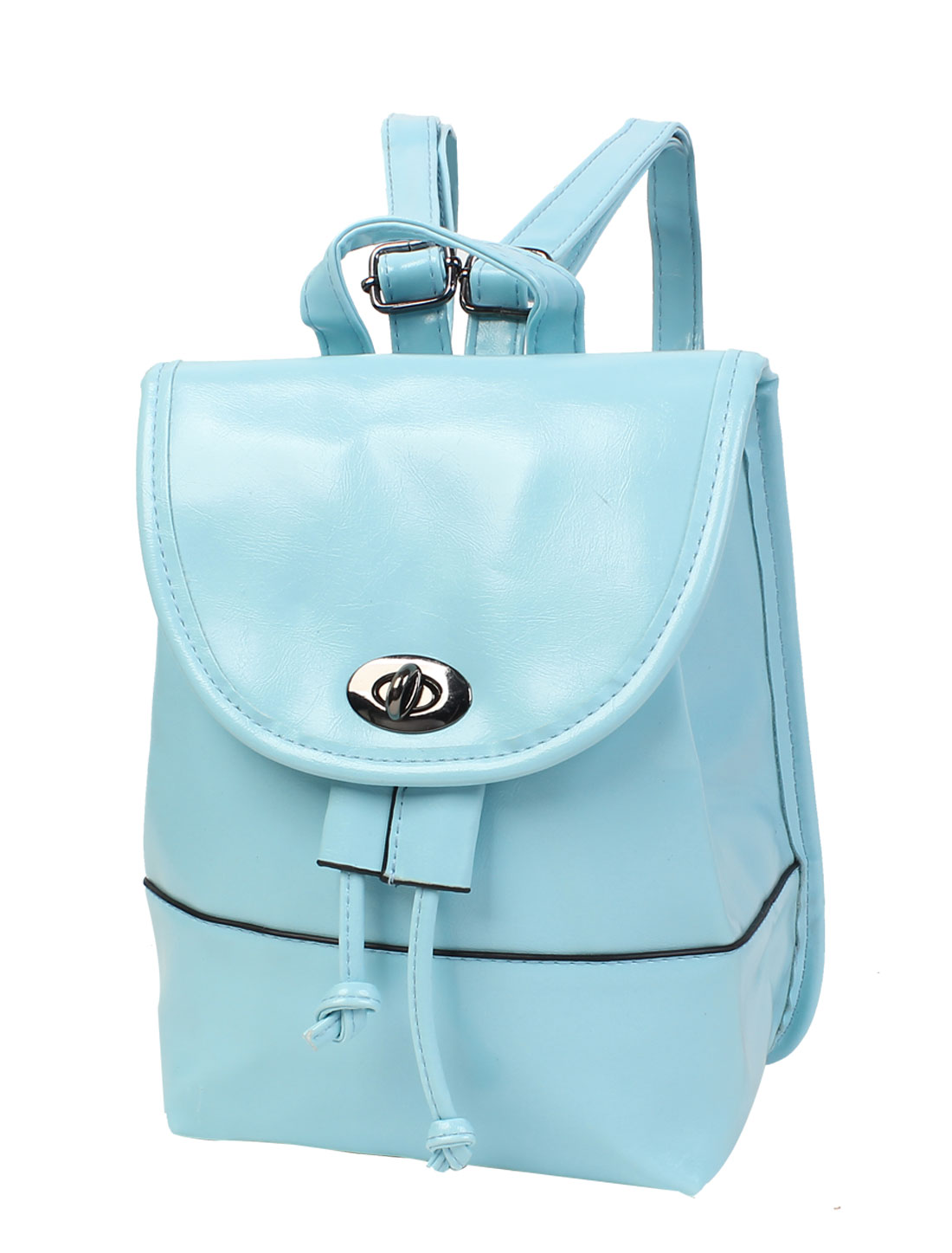 2015 New Candy Color Cute PU Leather Turn-lock Clasp Backpack Satchel Baby Blue