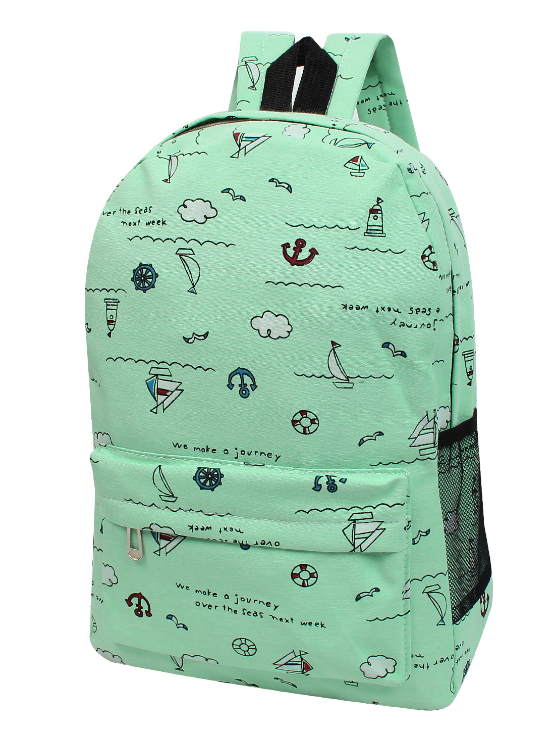 Preppy Style Sail Boat Printing Green Canvas Charming Backpack Bookbag