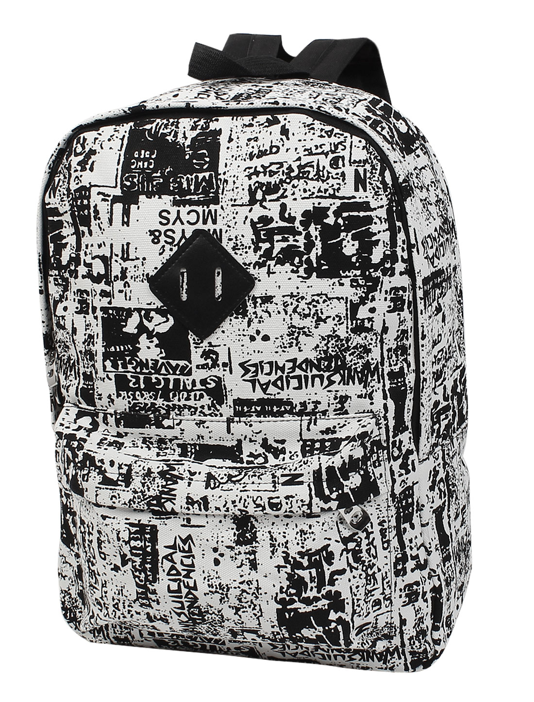 Unisex Graffiti Print Travel Casual Canvas Backpack School Bag Rucksack Black