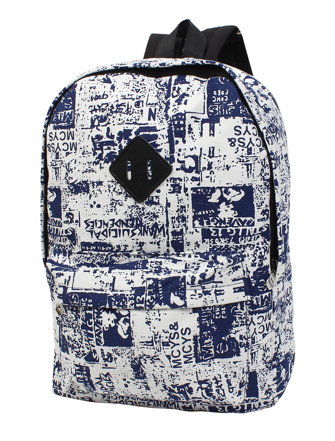 Unisex Graffiti Print Travel Casual Canvas Backpack School Bag Rucksack Blue