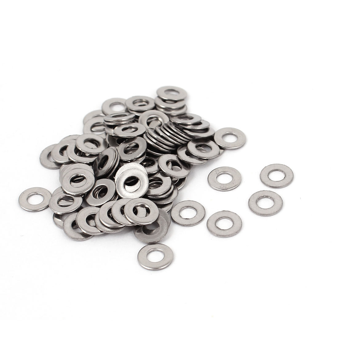 100pcs Silver Tone 304 Stainless Steel Flat Washer #5 for Screws Bolts