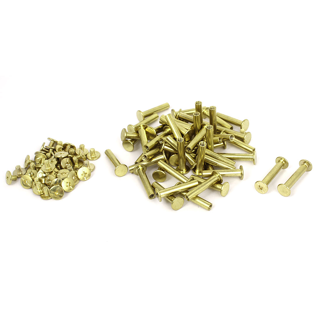 5mmx25mm Brass Plated Binding Chicago Screw Post for Scrapbook Photo Albums 50pcs