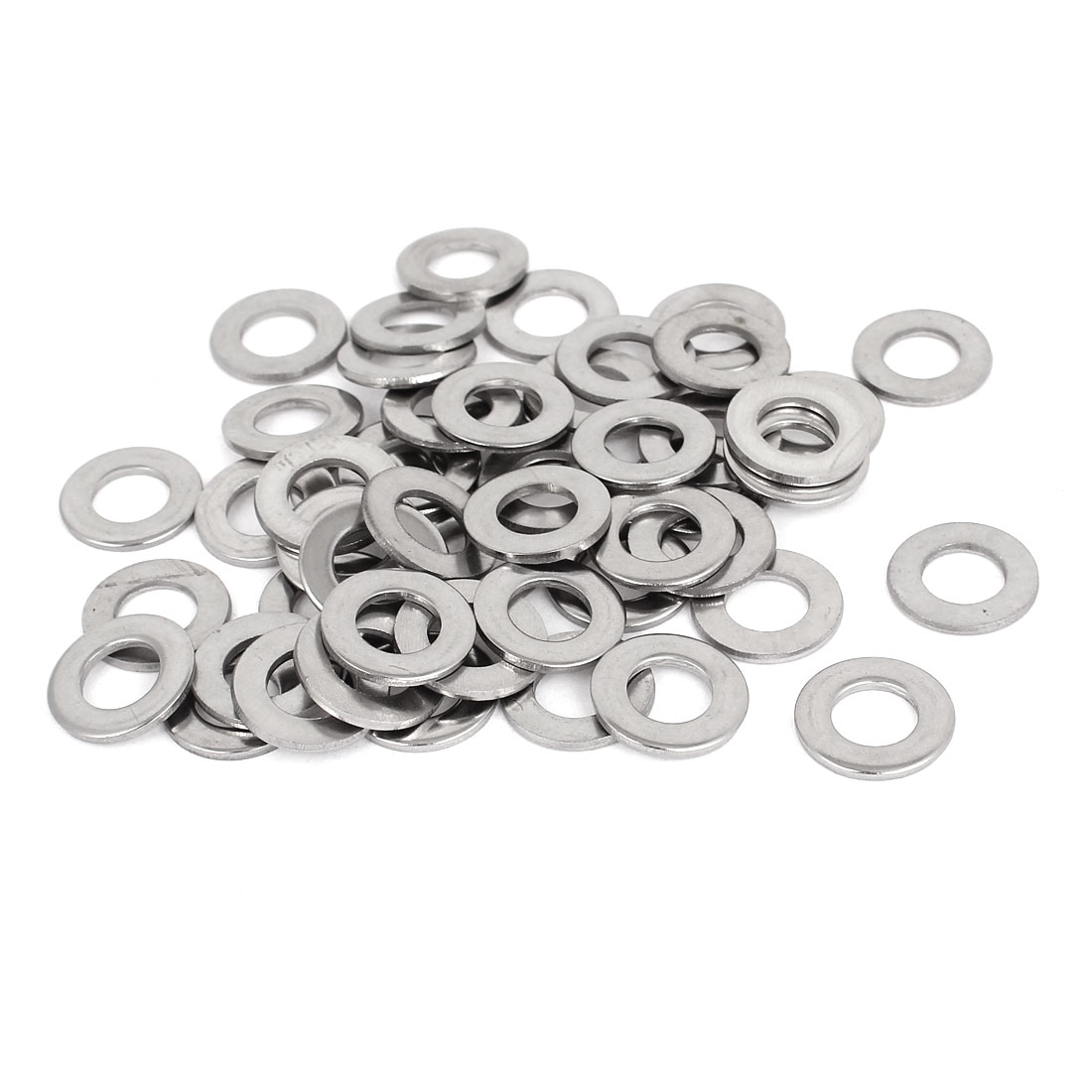 """50pcs Silver Tone 304 Stainless Steel Flat Washer 3/8"""" for Screws Bolts"""