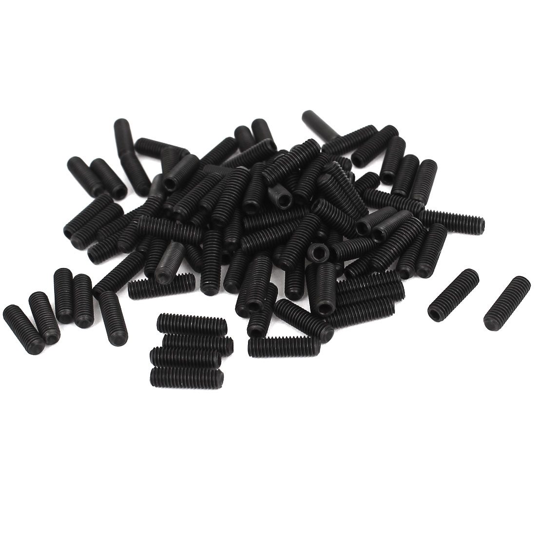 3mm x 10mm 0.5mm Pitch Hex Socket Set Cap Point Grub Screws Black 100pcs