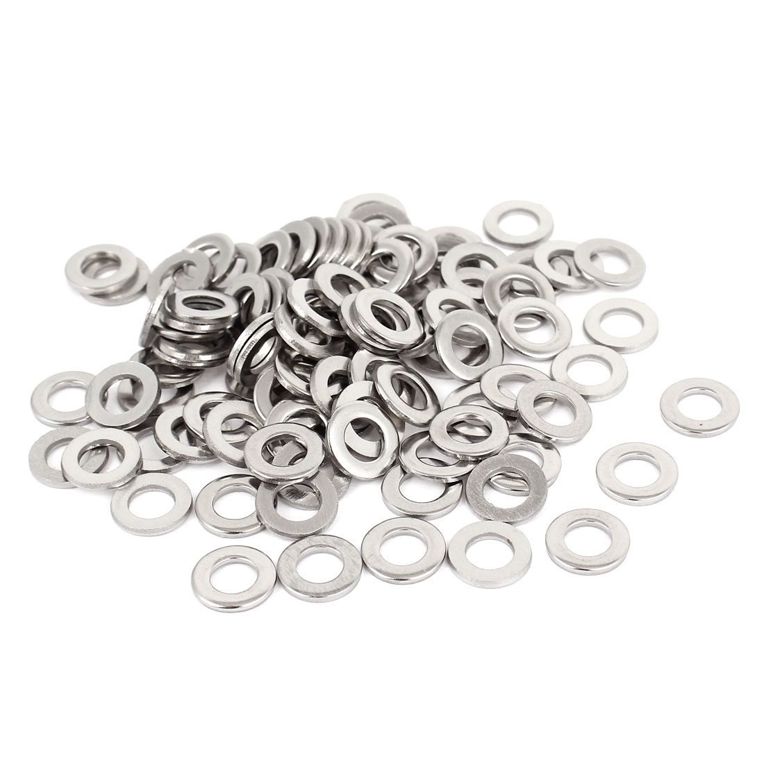 """100pcs Silver Tone 316 Stainless Steel Flat Washer 1/4"""" for Screws Bolts"""