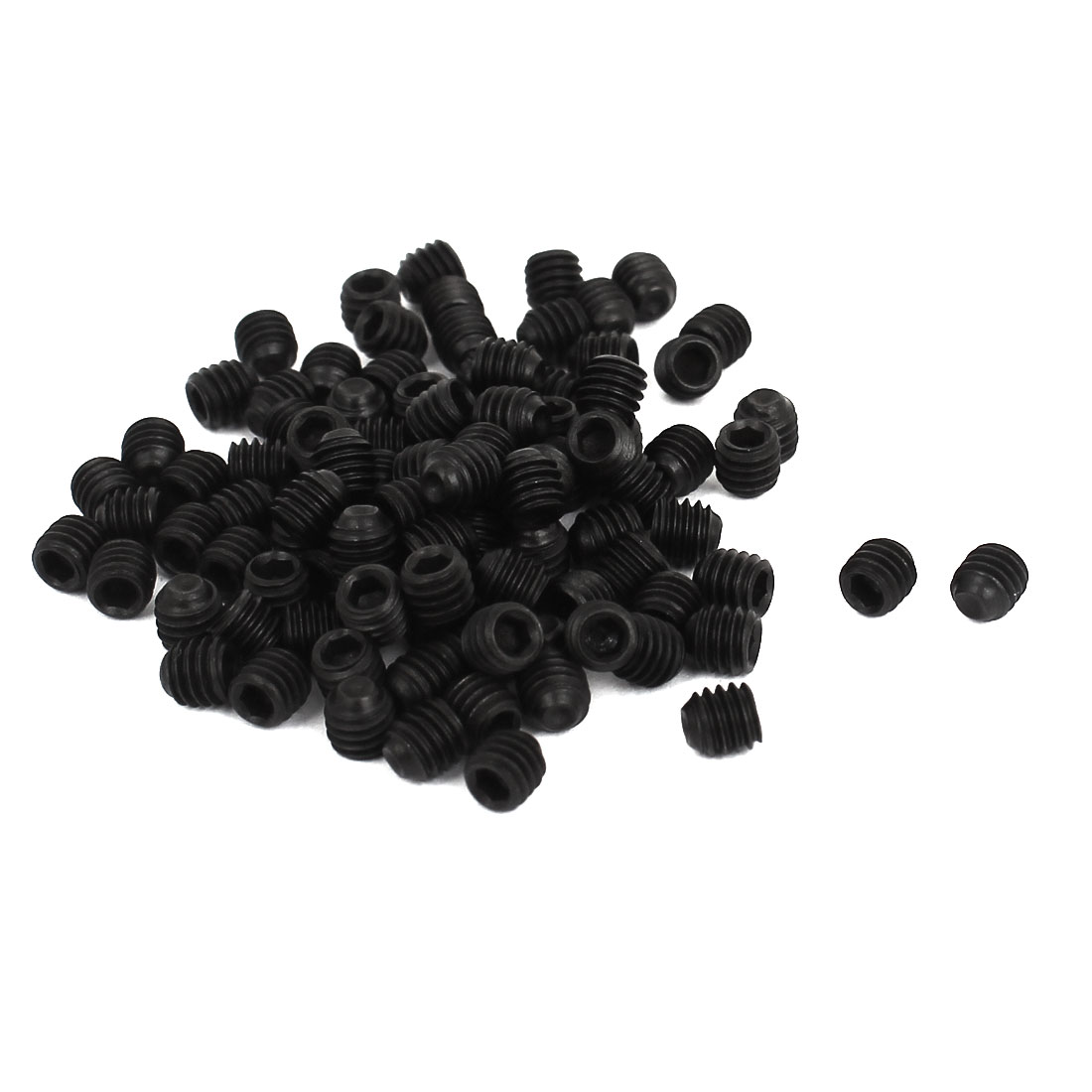 "4mm x 5/32"" 0.7mm Pitch Hex Socket Set Cap Point Grub Screws Black 100pcs"