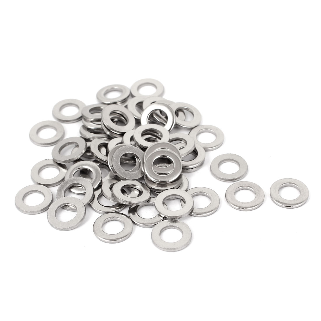 "50pcs Silver Tone 316 Stainless Steel Flat Washer 1/4"" for Screws Bolts"