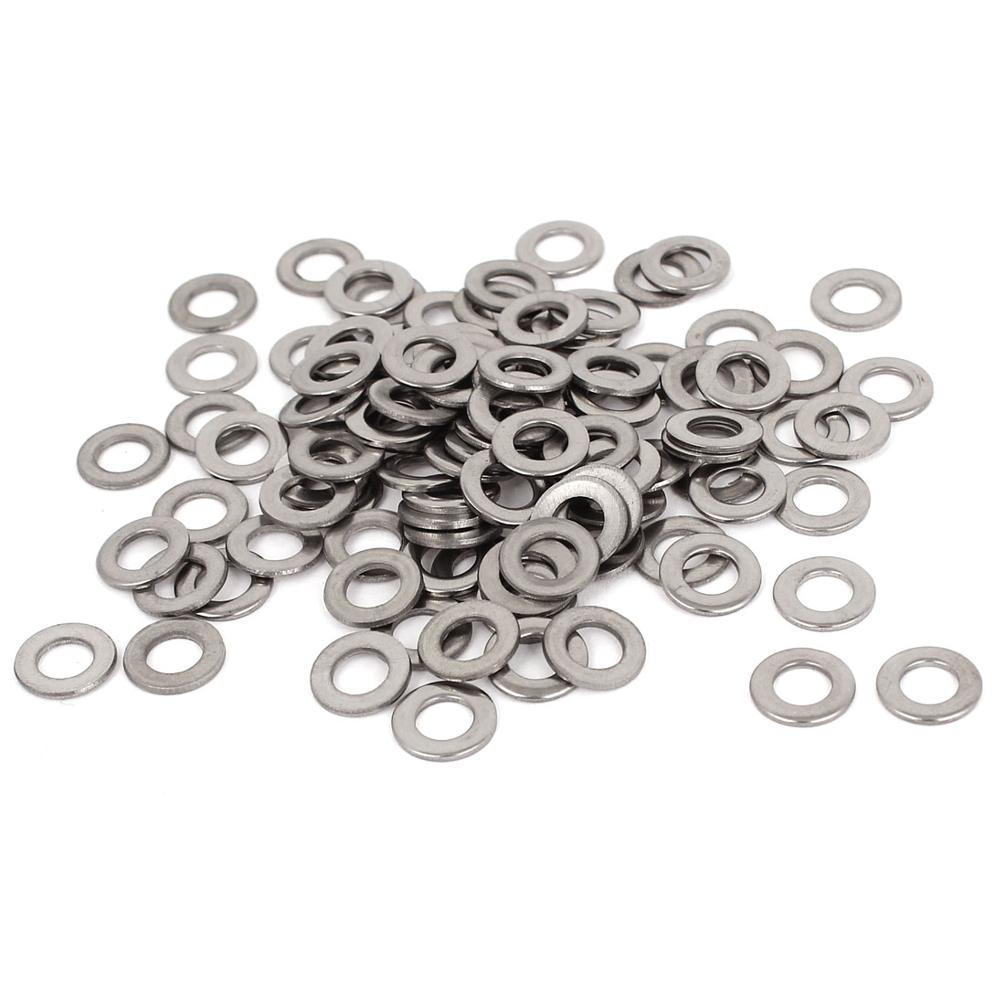 100pcs Silver Tone 304 Stainless Steel Flat Washer #10 for Screws Bolts