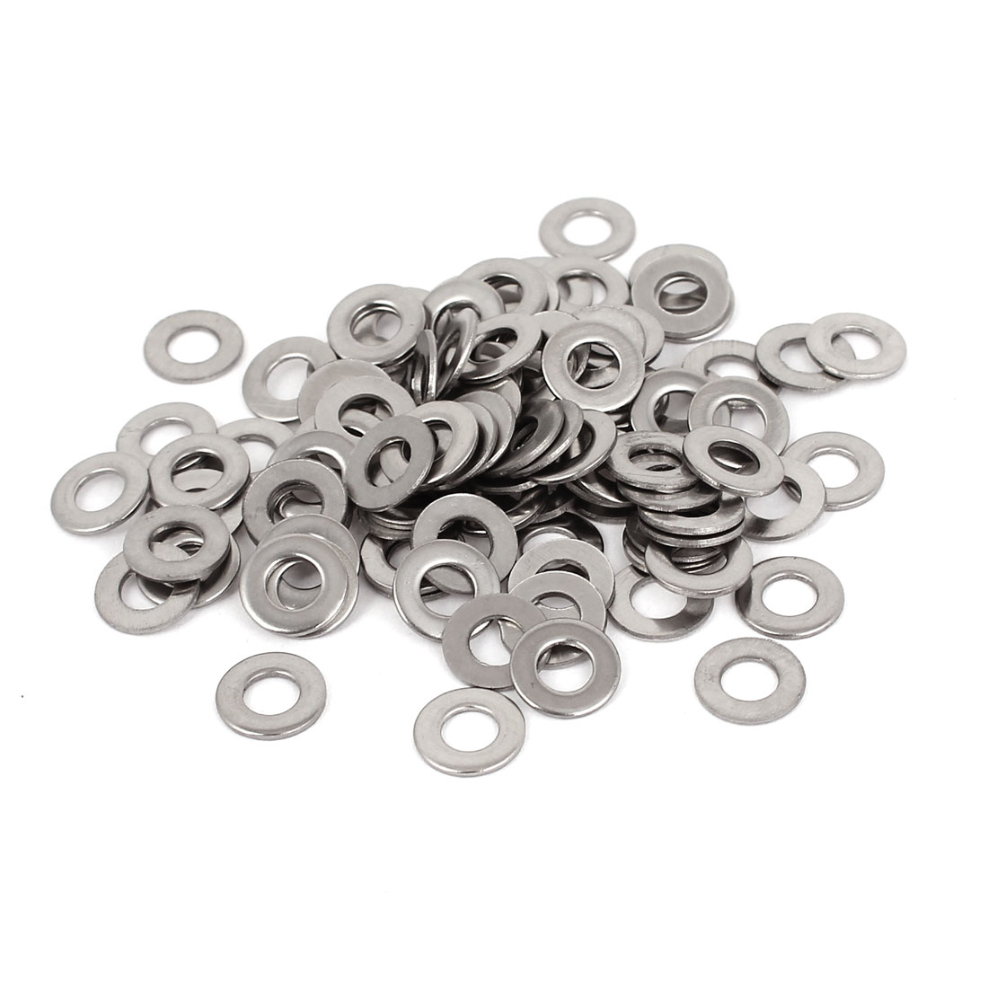 100pcs Silver Tone 304 Stainless Steel Flat Washer #8 for Screws Bolts