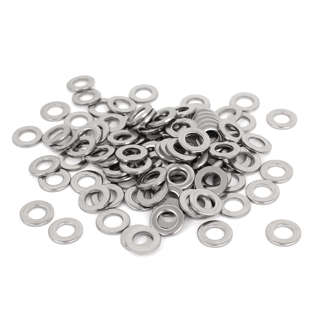 "100pcs Silver Tone 304 Stainless Steel Flat Washer 1/4"" for Screws Bolts"