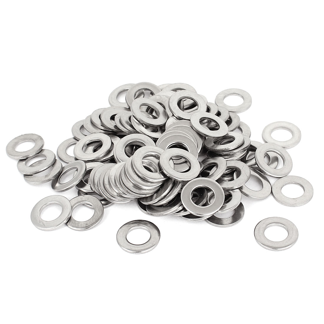"100pcs Silver Tone 304 Stainless Steel Flat Washer 3/8"" for Screws Bolts"