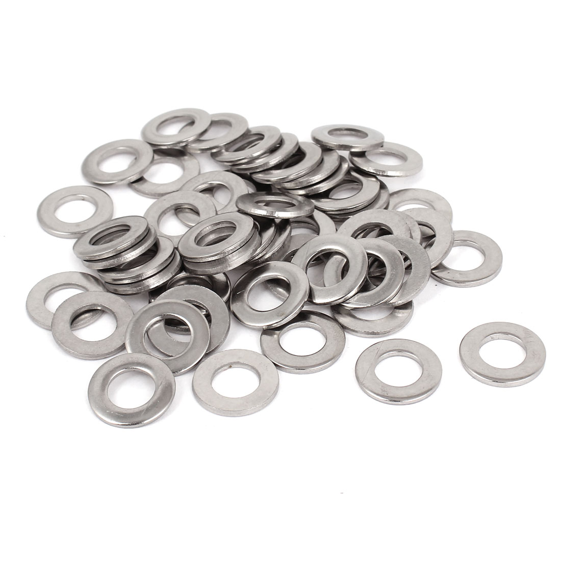 "50pcs Silver Tone 316 Stainless Steel Flat Washer 3/8"" for Screws Bolts"