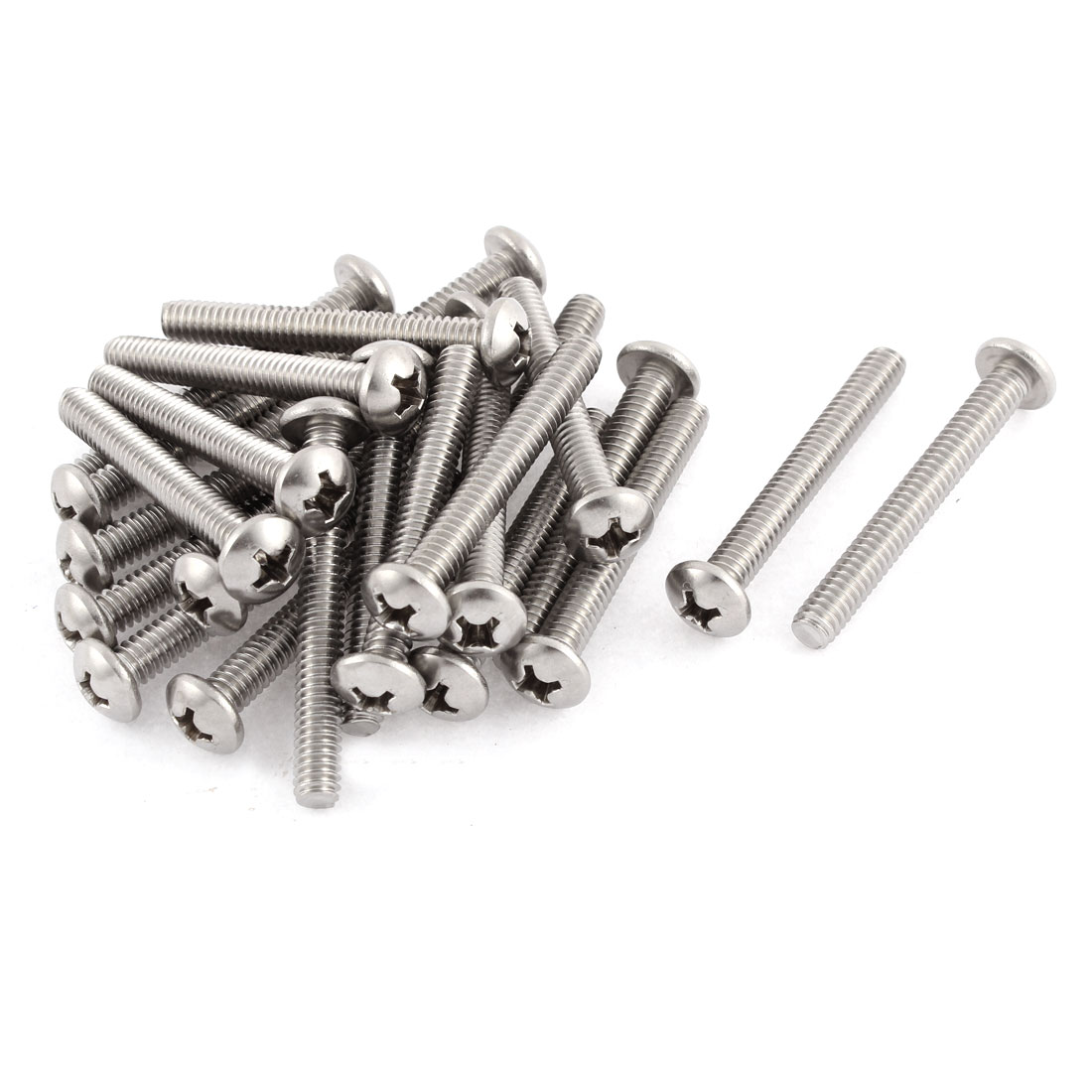 "56mm Long 1/4""x20x2"" Stainless Steel Phillips Cross Head Screws Bolts 25 Pcs"