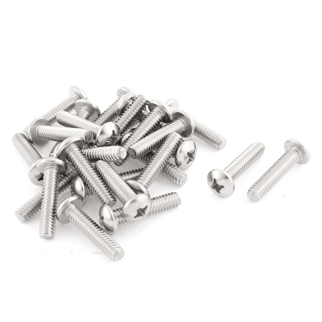 "25 Pcs 1/4""x20x1-1/8"" Stainless Steel Phillips Truss Head Screws Bolts 34mm Long"