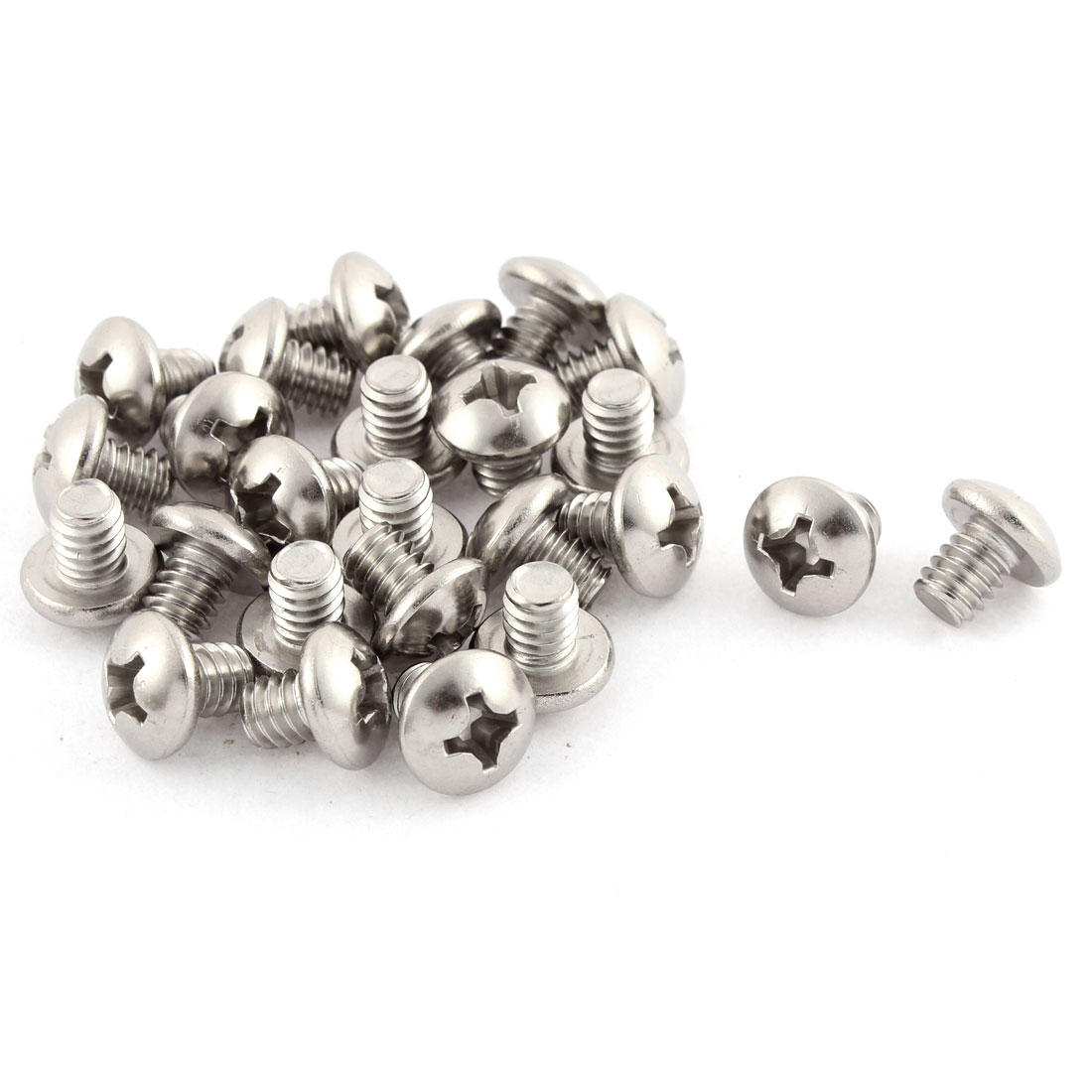 "12mm Long 1/4""x20x5/16"" Stainless Steel Phillips Truss Head Screws 25 Pcs"