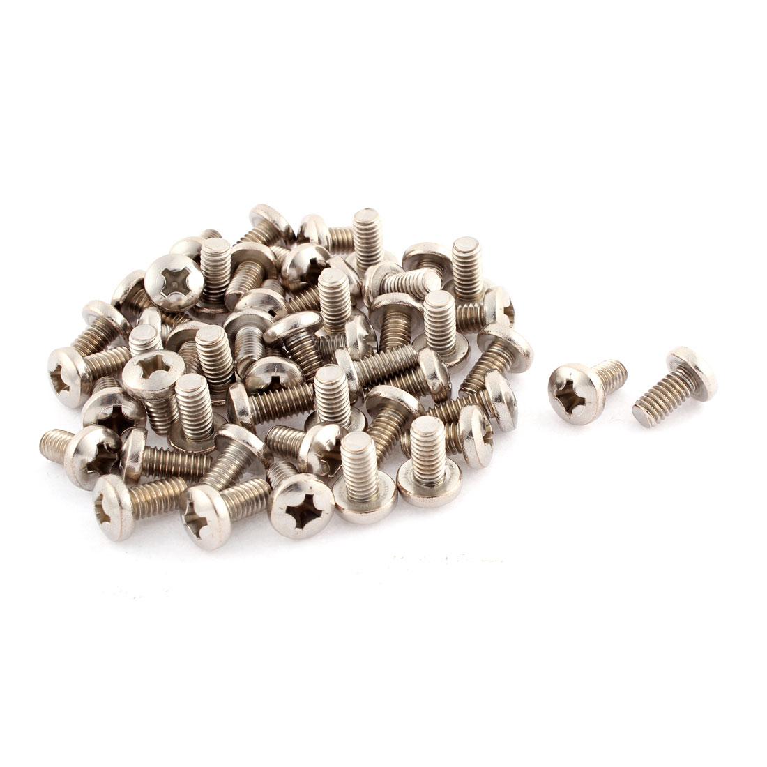 "21mm Long 5/16""x18x5/8"" Stainless Steel Phillips Truss Head Screws 50 Pcs"
