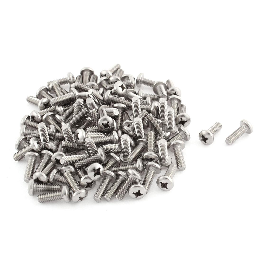 "24mm Long 1/4""x20x3/4"" Stainless Steel Phillips Cross Head Screws 100 Pcs"
