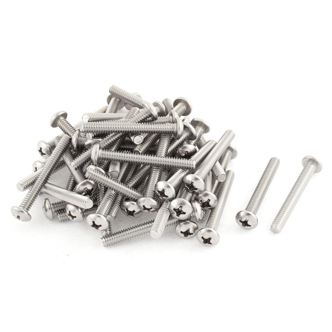 "55mm Long 1/4""x20x2"" Stainless Steel Phillips Cross Head Machine Screws Bolts 50 Pcs"