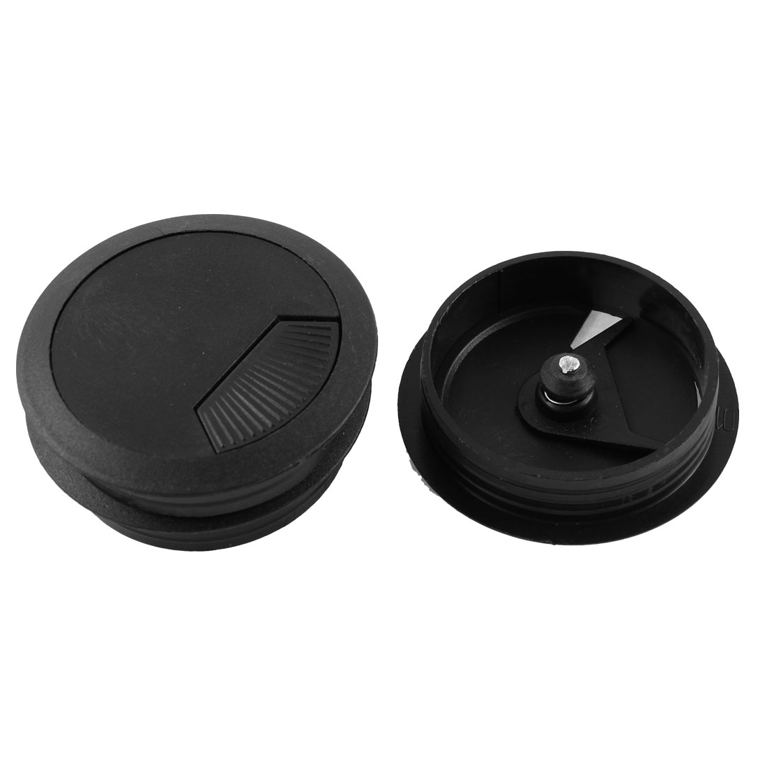 3 Pcs Office Computer Desk Cable Hole Covers Plastic Grommets Black 60mm