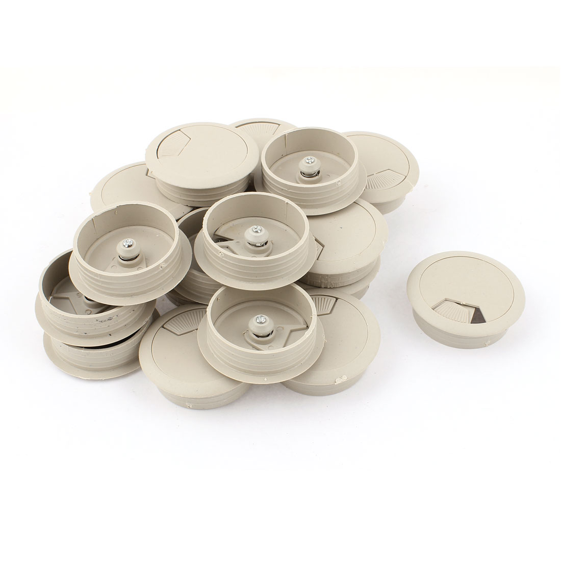 20 Pcs Office Computer Desk Cable Hole Covers Plastic Grommets Gray 50mm