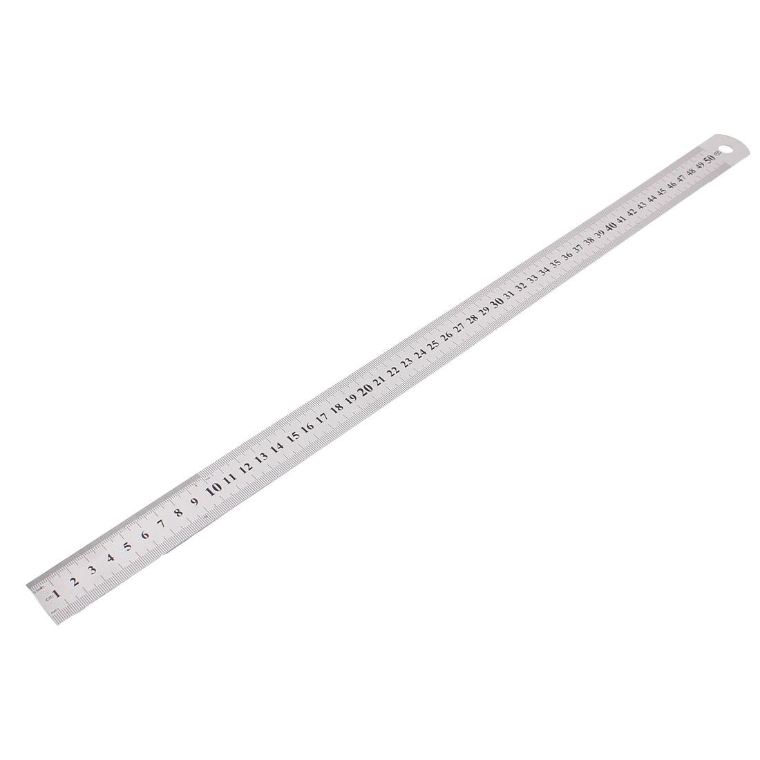 School Stainless Steel Double Sided Metric Ruler Measuring Tool 50cm Range