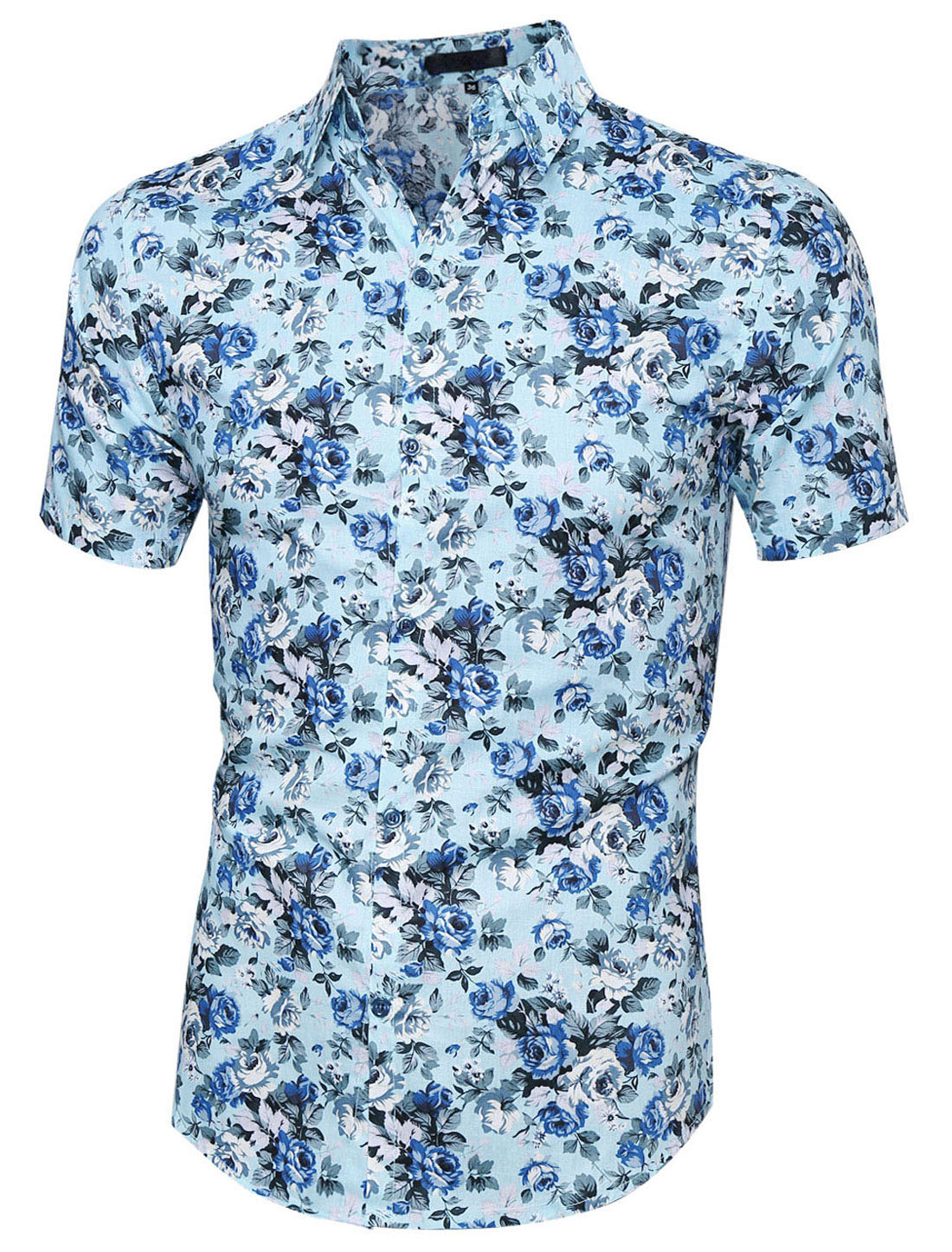 Men Button Closure Flower Pattern Casual Shirt Light Blue L