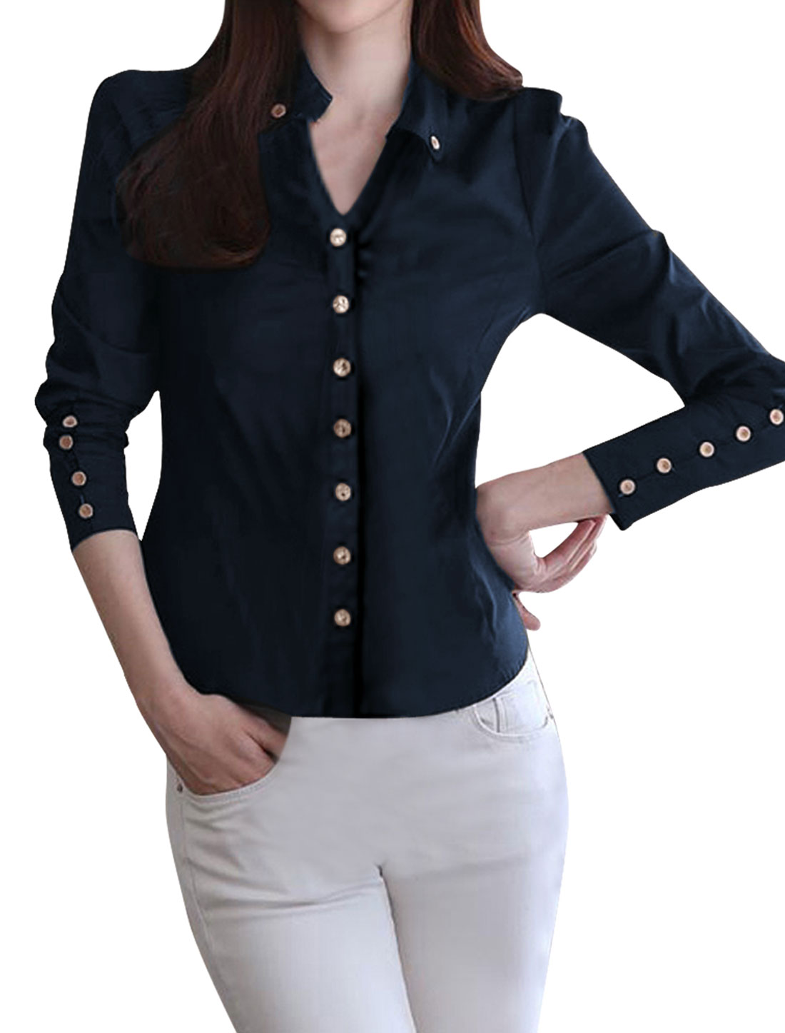 Girls Point Collar Long Sleeve Button Up Casual Shirts Navy Blue 14