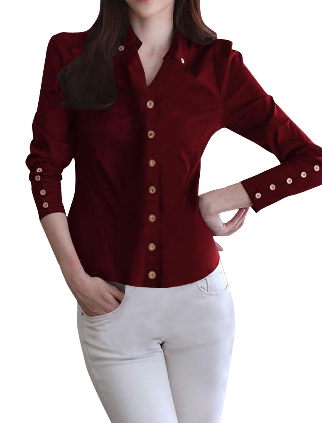 Girls Point Collar Long Sleeve Button Down Casual Shirt Burgundy 14