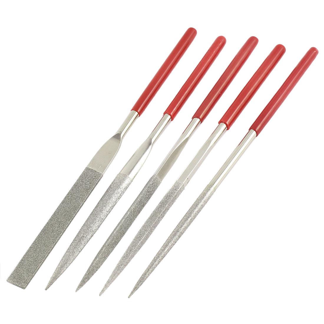 180mm x 5mm Round Flat Triangle Square Oval Diamond Needle File Set 5 Pcs