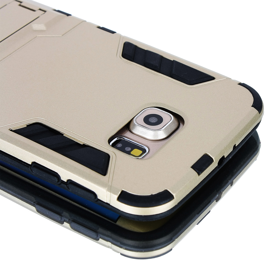 Rugged Tough Protective Phone Case/Cover+Case Stand for Galaxy S6 Gold Tone