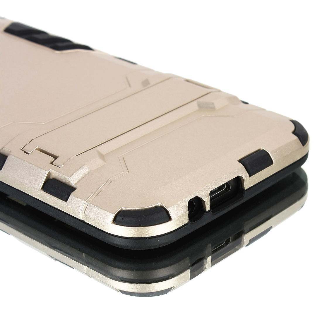 Luxury Shockproof Dirtproof TPU + PC Case Stand Cover for HTC ONE M9 Gold Tone