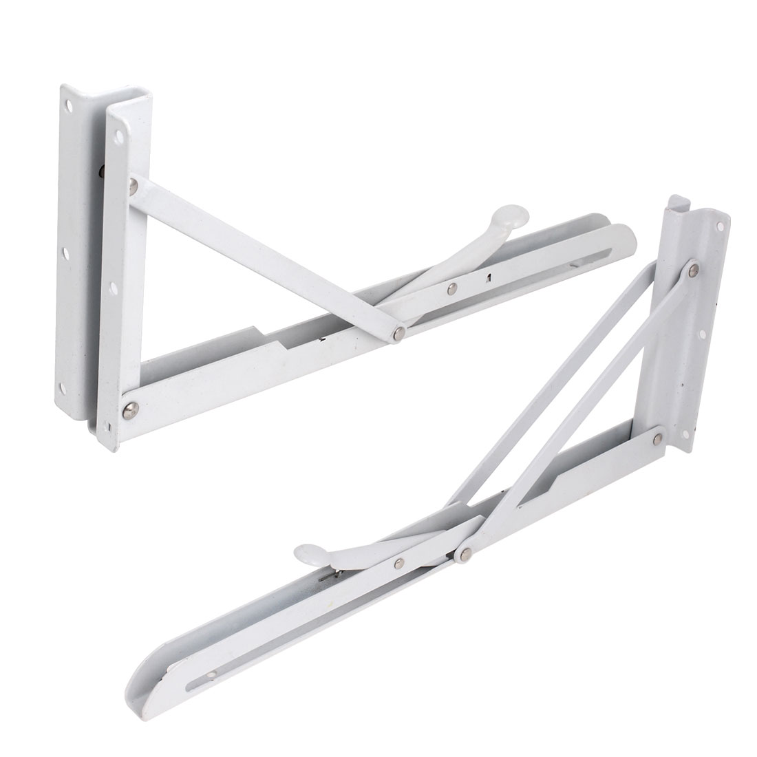"2 Pcs 14"" Metal Release Catch Support Bench Table Folding Shelf Bracket White"