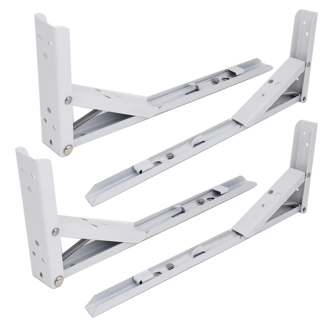 4 Pcs Spring Loaded White Metal Right Angle Folding Shelf Brackets 35cmx13cm