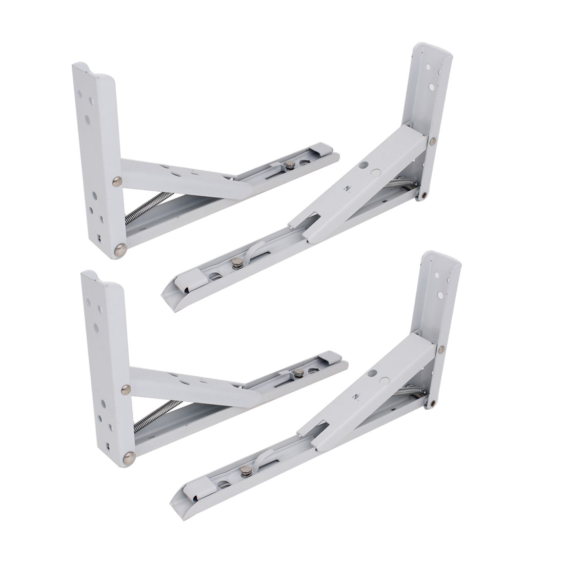 "4 Pcs 25cm 10"" Long Spring Loaded Right Angle Folding Shelf Bracket Support"
