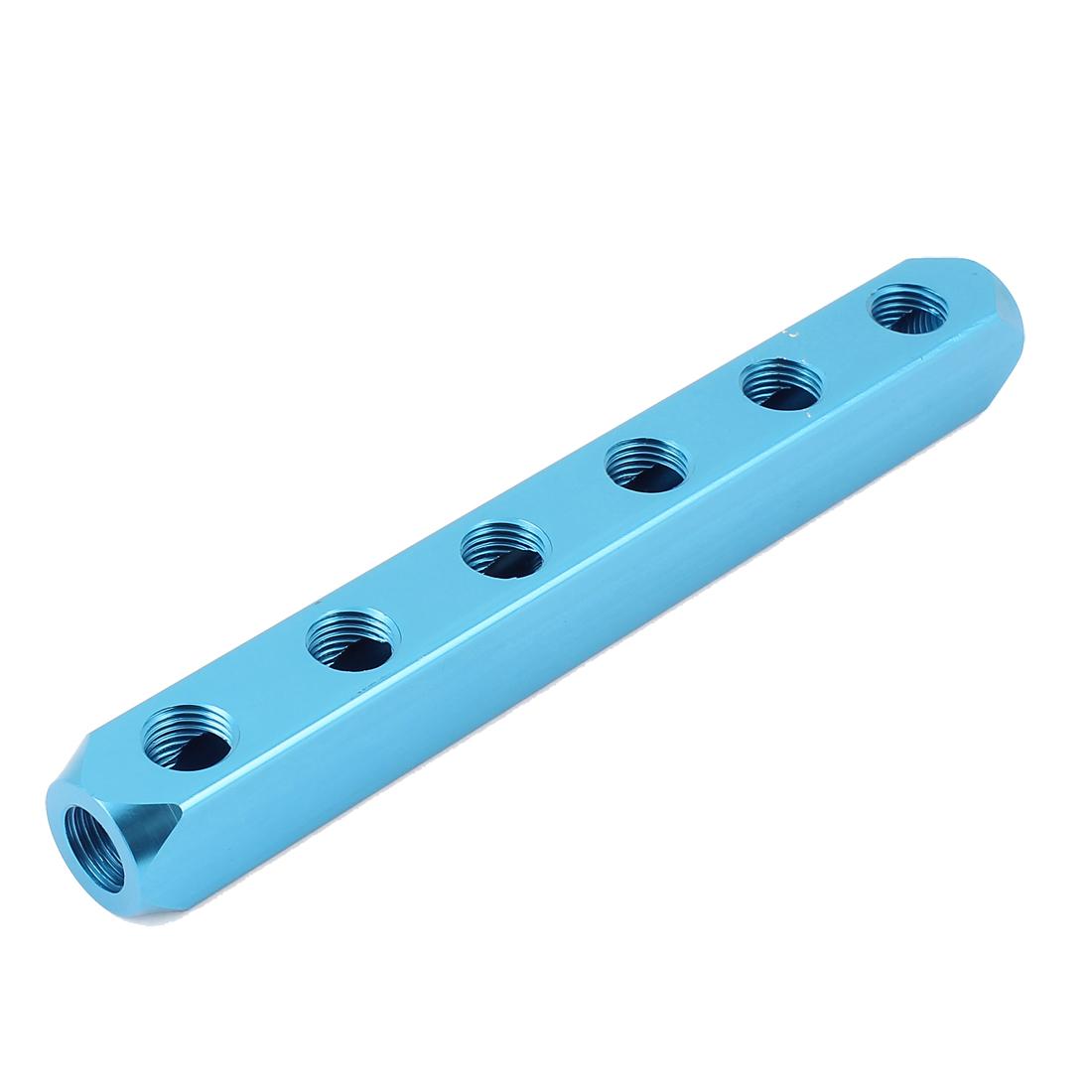 1/4BSP Thread 6 Ways 9 Ports Air Pneumatic Aluminum Manifold Block Splitter Cyan
