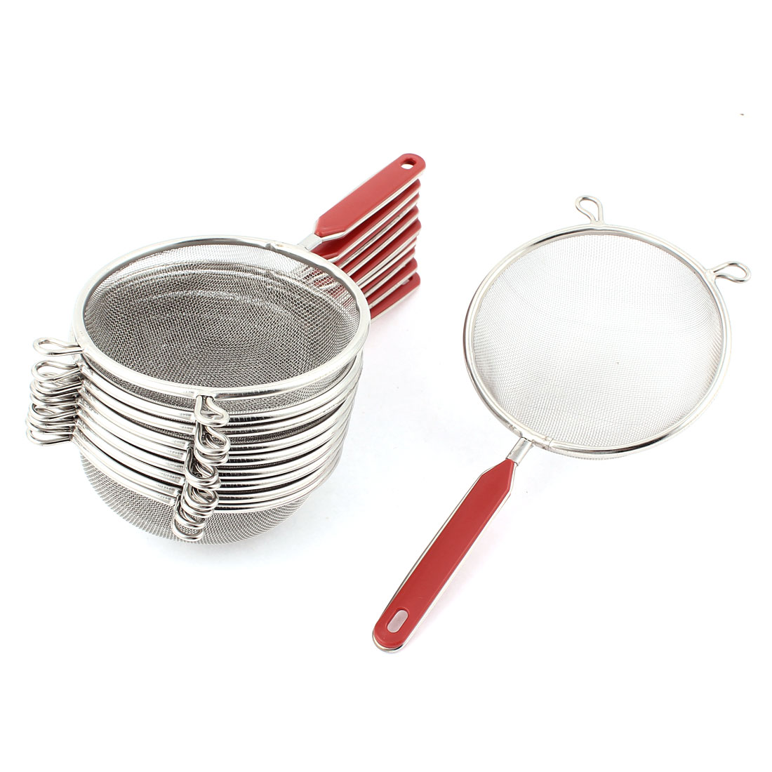 Kitchen Plastic Grip Stainless Steel 10cm Dia Mesh Ladle Strainer Filter 10pcs