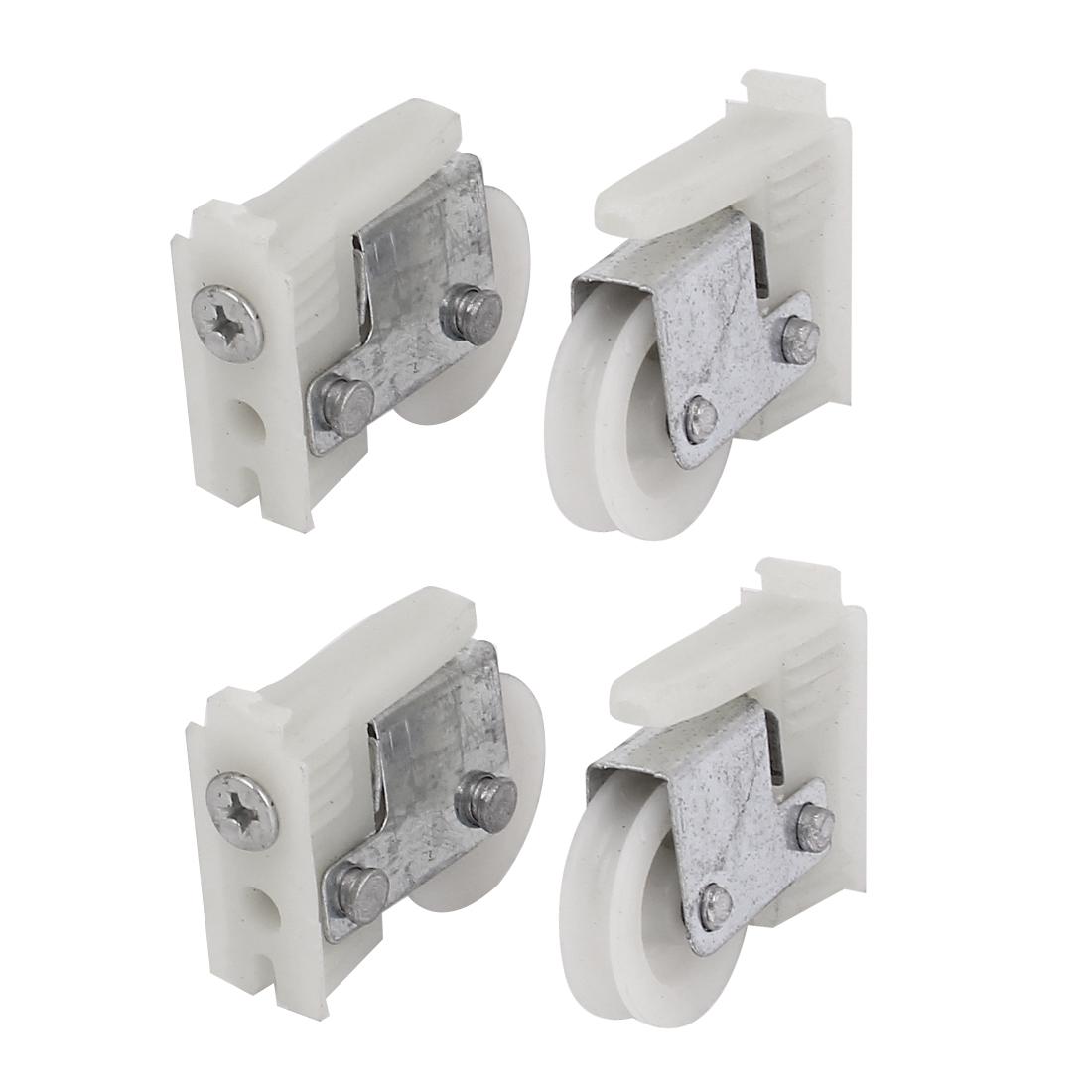 4pcs 17.5mm Dia. Wheel 828 Double Roller Door Window Sash Pulley White Silver Tone